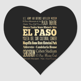 El Paso City of Texas State Typography Art Heart Sticker