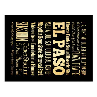 El Paso City of Texas State Typography Art Post Cards