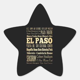 El Paso City of Texas State Typography Art Star Sticker