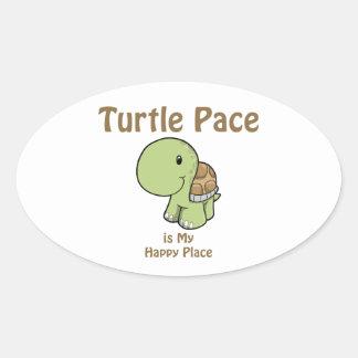 El paso de la tortuga es mi lugar feliz pegatina ovalada