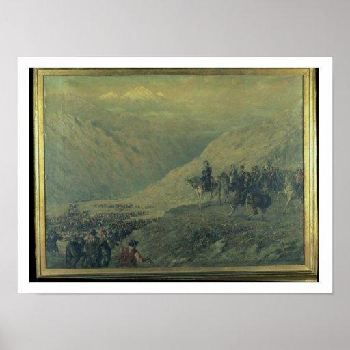 El paso de los Andes en 1817 (aceite en lona) Póster