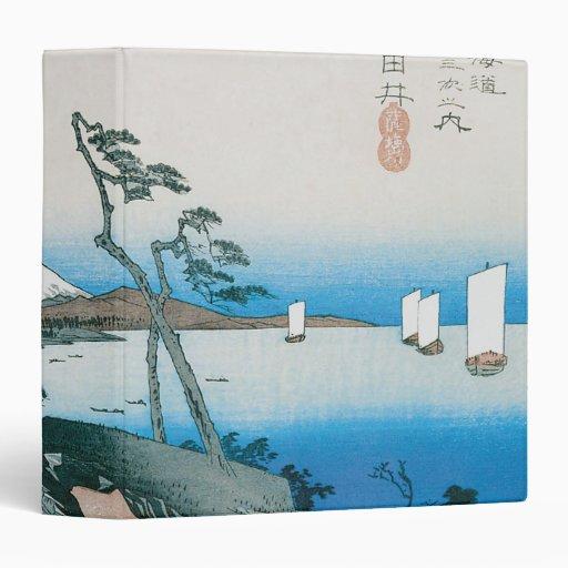 """El paso de Satta en Yui, por Utagawa Hiroshige Carpeta 1 1/2"""""""