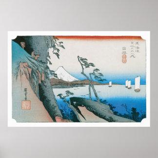El paso de Satta en Yui por Utagawa Hiroshige Poster