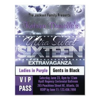 El paso del VIP del dulce dieciséis del resplandor Invitación 10,8 X 13,9 Cm