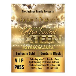 El paso del VIP del dulce dieciséis del resplandor Invitaciones Personales
