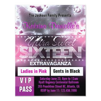 """El paso del VIP del dulce dieciséis del resplandor Invitación 4.25"""" X 5.5"""""""