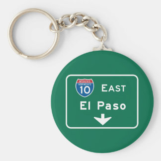 El Paso, señal de tráfico de TX Llavero Redondo Tipo Pin