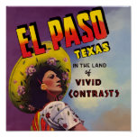 El Paso, Texas 1940 Travel Ad Poster