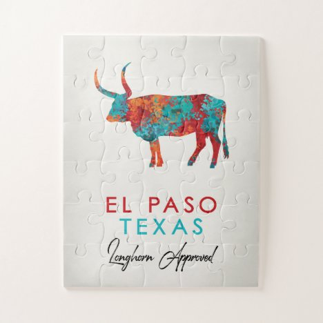 El Paso Texas Colorful Longhorn Jigsaw Puzzle