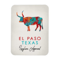 El Paso Texas Colorful Longhorn Magnet
