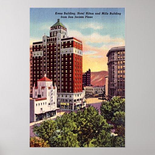 El Paso, Texas Downtown 1940 Poster