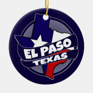 El Paso Texas flag burst holiday ornament