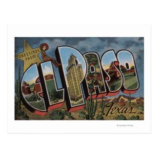 El Paso, Texas - Large Letter Scenes Postcard