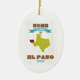 El Paso, Texas Map – Home Is Where The Heart Is Double-Sided Oval Ceramic Christmas Ornament
