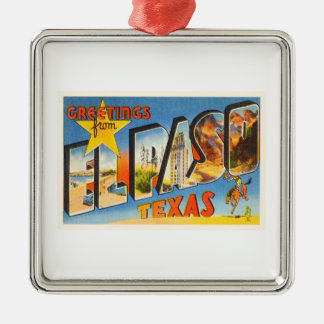 El Paso Texas TX Old Vintage Travel Souvenir Metal Ornament