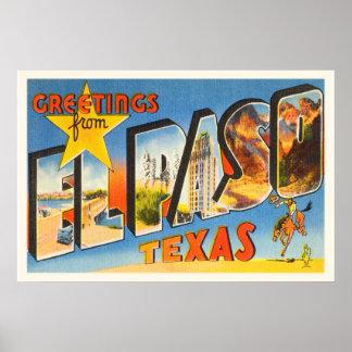 El Paso Texas TX Old Vintage Travel Souvenir Poster