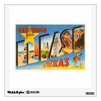 El Paso Texas TX Old Vintage Travel Souvenir Wall Sticker