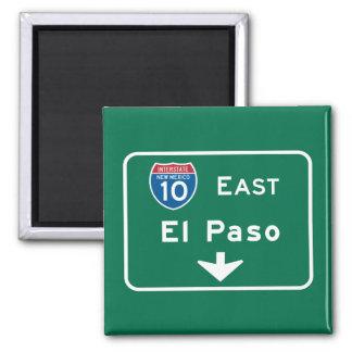 El Paso, TX Road Sign 2 Inch Square Magnet