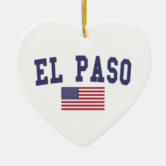 El Paso US Flag Ceramic Ornament