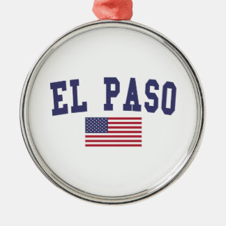 El Paso US Flag Metal Ornament