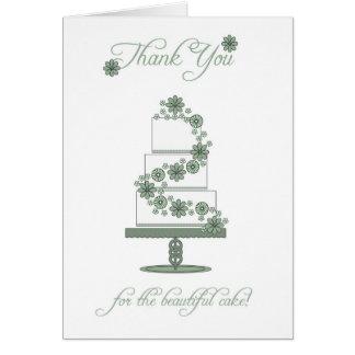 el pastel de bodas le agradece cardar - gracias tarjeta