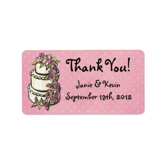 El pastel de bodas le agradece las etiquetas etiquetas de dirección
