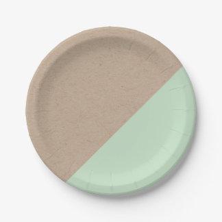 El pastel de Kraft y de la menta sumergió la placa Plato De Papel 17,78 Cm