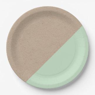 El pastel de Kraft y de la menta sumergió la placa Plato De Papel 22,86 Cm
