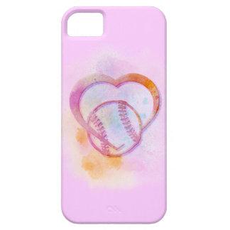 El pastel del corazón del softball o del béisbol funda para iPhone SE/5/5s