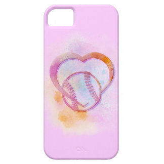 El pastel del corazón del softball o del béisbol iPhone 5 funda