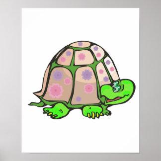 el pastel lindo florece la tortuga póster
