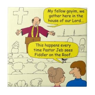 El pastor 673 va al dibujo animado del Fiddler Azulejo Cuadrado Pequeño