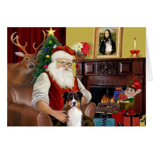 El pastor australiano de Santa (tri) Tarjeta De Felicitación