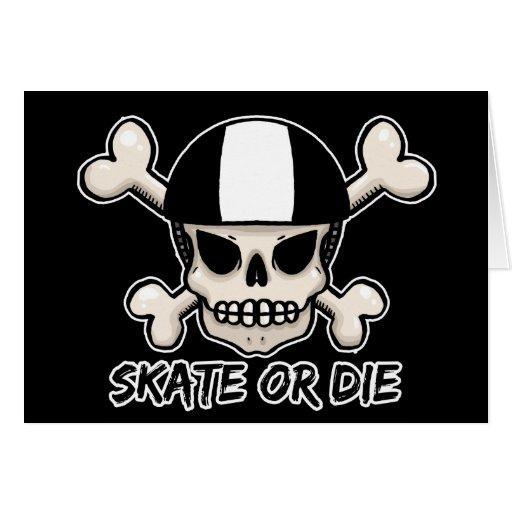 El patín o muere cráneo y bandera pirata tarjeta de felicitación