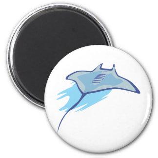 El patín patina los pescados del azul del arte del imán redondo 5 cm