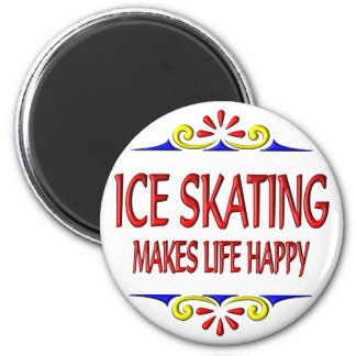 El patinaje de hielo hace vida feliz imán redondo 5 cm