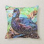 el pato coloreó diseño del pájaro de la mirada del almohadas