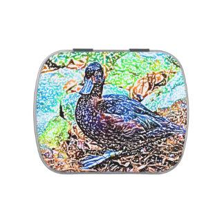 el pato coloreó diseño del pájaro de la mirada del latas de dulces