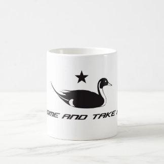 """El pato del pato rojizo """"viene tomarlo """" taza"""