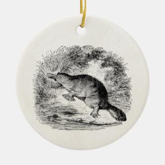 El pato del vintage cargó en cuenta animales adorno navideño redondo de cerámica