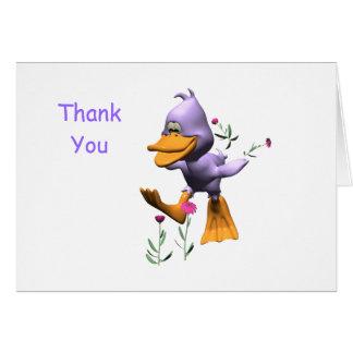 El pato feliz le agradece cardar tarjeta pequeña
