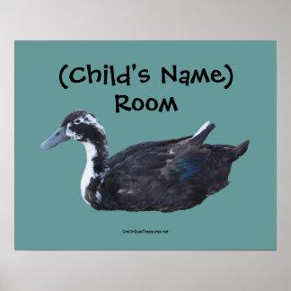El pato negro lindo embroma el poster personalizad