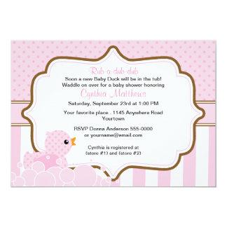 """El pato rosado con la fiesta de bienvenida al bebé invitación 5"""" x 7"""""""