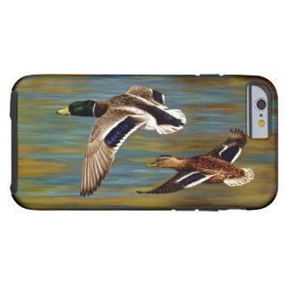 El pato silvestre Ducks volar sobre la charca Funda Para iPhone 6 Tough