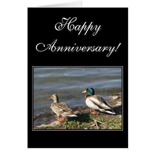 El pato silvestre feliz del aniversario ducks la t tarjeta de felicitación