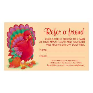 El pavo de la acción de gracias refiere tarjetas tarjetas de visita