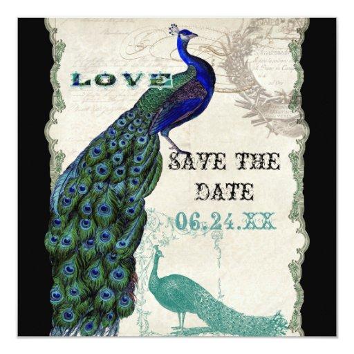 El pavo real 5 del vintage - ahorre la fecha invitación 13,3 cm x 13,3cm