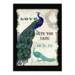 El pavo real 5 del vintage - ahorre la fecha invitación 11,4 x 15,8 cm