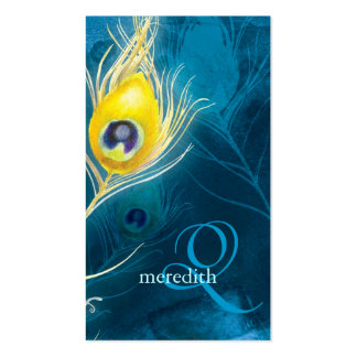 El pavo real azul del oro empluma tarjetas de visi
