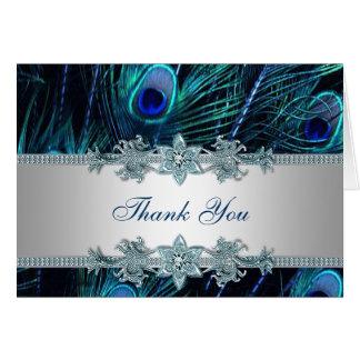 El pavo real azul del trullo real le agradece las tarjeta pequeña